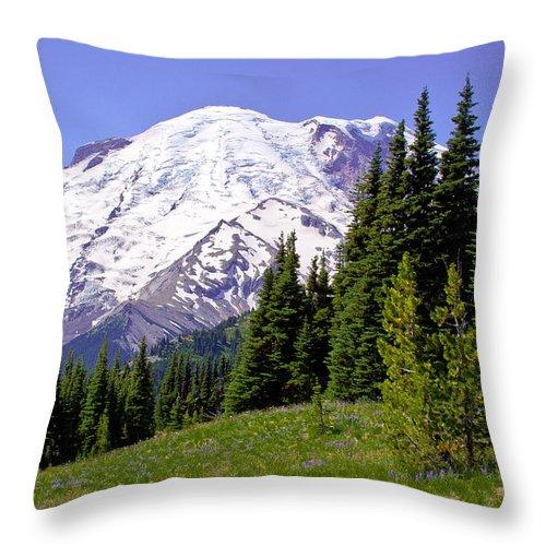 Mount Rainier Throw Pillow featuring the photograph Mount Rainier X by David Patterson