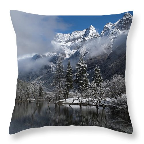 Colour Image Throw Pillow featuring the photograph Mount Siguniang Is An Area by Alex Treadway