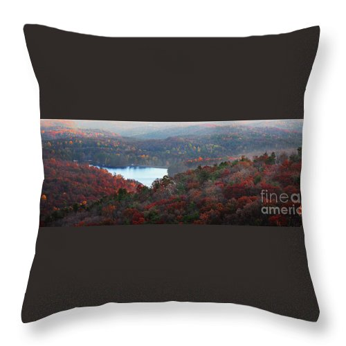Panoramic Throw Pillow featuring the photograph Mountain Lake by Michael Waters