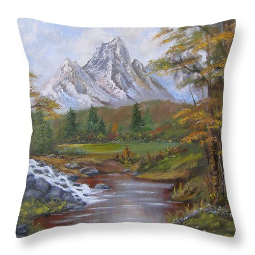 Landscape Throw Pillow featuring the painting Mountain Landscape by Mark Perry