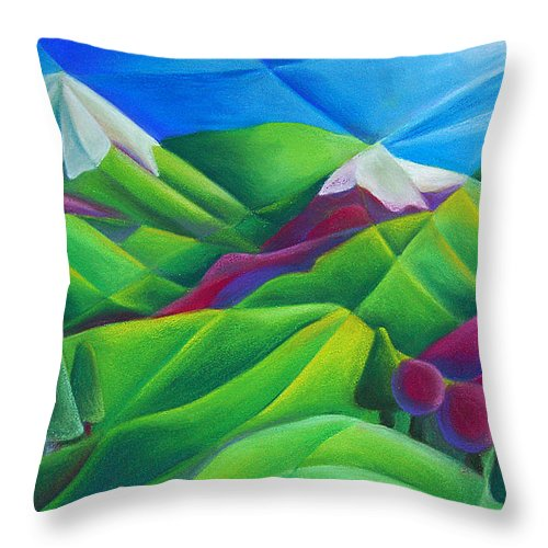 Landscape Throw Pillow featuring the pastel Mountain Range by Tiffany Budd
