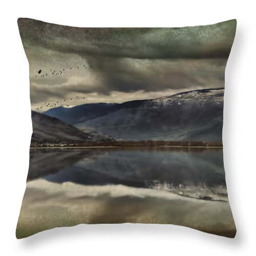 Mountains Throw Pillow featuring the photograph Mountain Reflections by Kym Clarke