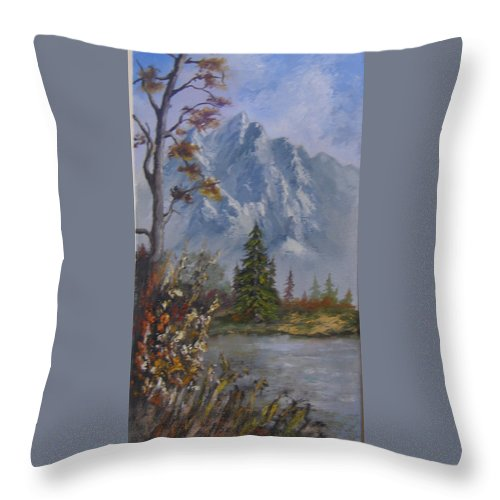 Landscape Throw Pillow featuring the painting Mountain Scene by Mark Perry