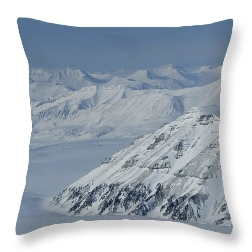 Spitsbergen Throw Pillow featuring the photograph Mountains And Glaciers Near Ny Alesund by Gordon Wiltsie