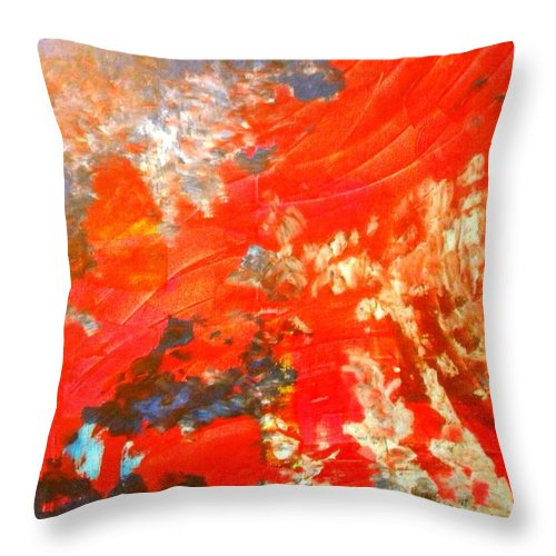 Ocean Throw Pillow featuring the painting Mountains Fall Into The Raging Seas by Etta Harris