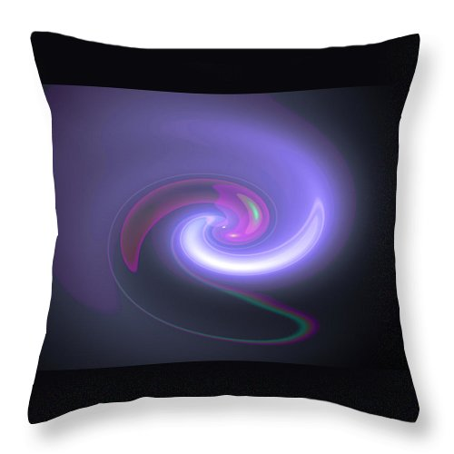 bluepurplemood Digital Abstract Art By Artist Jacob Kane Kanduch -- Omnetra Throw Pillow featuring the digital art Moveonart Bluepurplemood by Jacob Kanduch