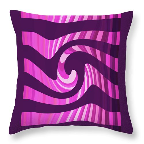Moveonart! Global Gathering. -- Digital Abstract Art By Jacob Kane -- Omnetra Throw Pillow featuring the digital art Moveonart Hotpinkwaveinblack by Jacob Kanduch