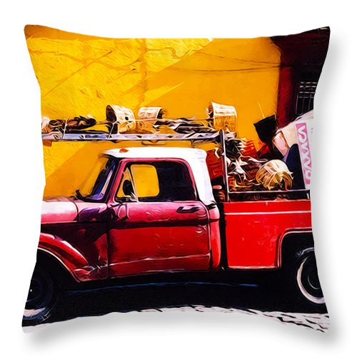 Truck Throw Pillow featuring the photograph Moving Day Oaxaca by Terry Fiala