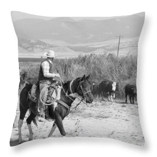 Cowboy Throw Pillow featuring the photograph Moving The Herd-2 by Fran Riley