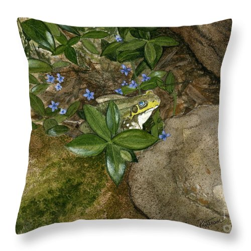Frog Throw Pillow featuring the painting Mr. Frog by Nancy Patterson