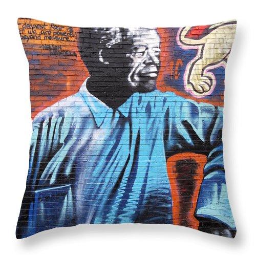 Graffiti Throw Pillow featuring the photograph Mr. Nelson Mandela by Juergen Weiss