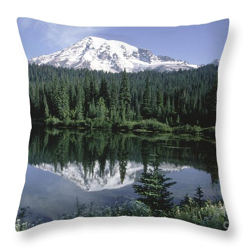 Sandra Bronstein Throw Pillow featuring the photograph Mt. Ranier Reflection by Sandra Bronstein