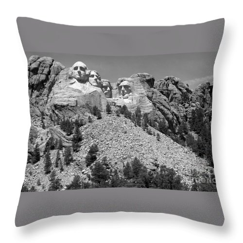 Mt. Rushmore Throw Pillow featuring the photograph Mt. Rushmore Full View In Black And White by Living Color Photography Lorraine Lynch