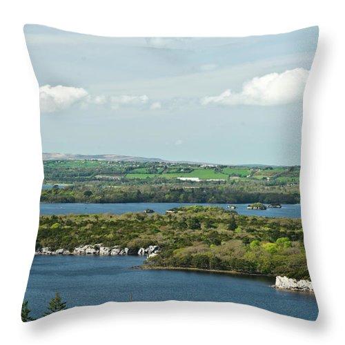 Muckross Throw Pillow featuring the photograph Muckross Lake From Atop Torc Waterfall 2 by Douglas Barnett