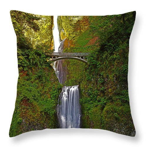 Oregon Throw Pillow featuring the photograph Multnomah Falls At Summer Solstice - Posterized by Rich Walter