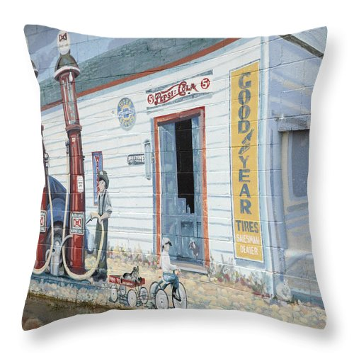 Photography Throw Pillow featuring the photograph Mural Art At Consul 2 by Bob Christopher