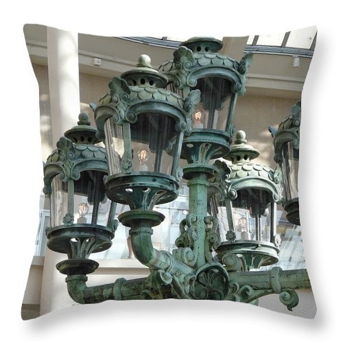 Lamp Throw Pillow featuring the photograph Museum Lights by Valerie Ornstein