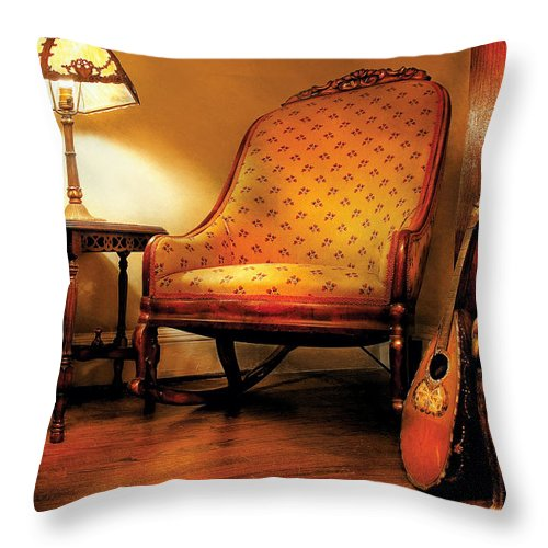 Savad Throw Pillow featuring the photograph Music - String - The Chair And The Lute by Mike Savad