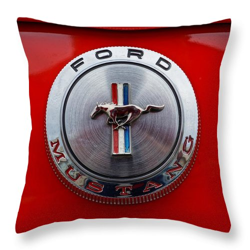 Mustang Throw Pillow featuring the photograph Mustang Emblem by Alan Hutchins