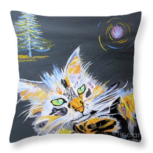 Calico Cat Throw Pillow featuring the painting My Calico Cat Wizard by Phyllis Kaltenbach