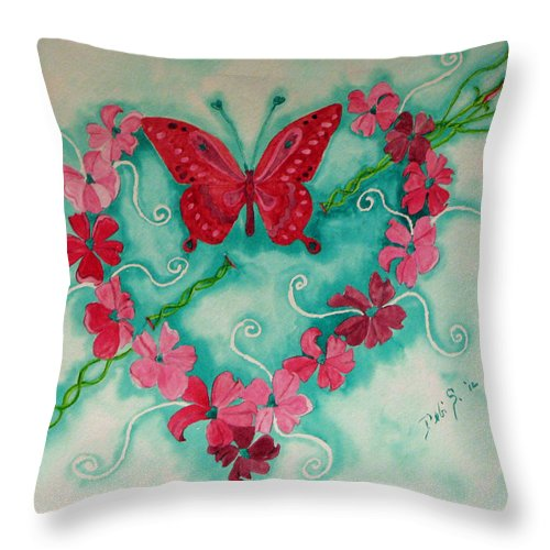 Heart Throw Pillow featuring the painting My Heart Has Been Pierced By Love by Debi Singer