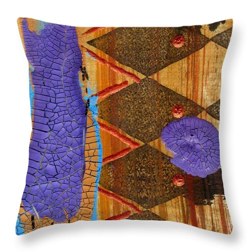 Abstract Throw Pillow featuring the mixed media My New Purple Dress by Angela L Walker