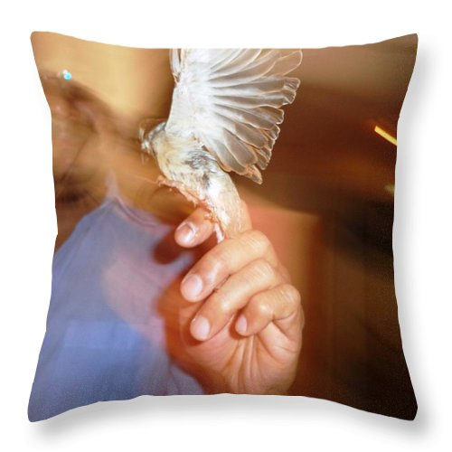 Pietyz Throw Pillow featuring the photograph My Sparrow by Piety Dsilva