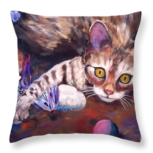.bengal Cat Throw Pillow featuring the painting My Toys by Phyllis Kaltenbach