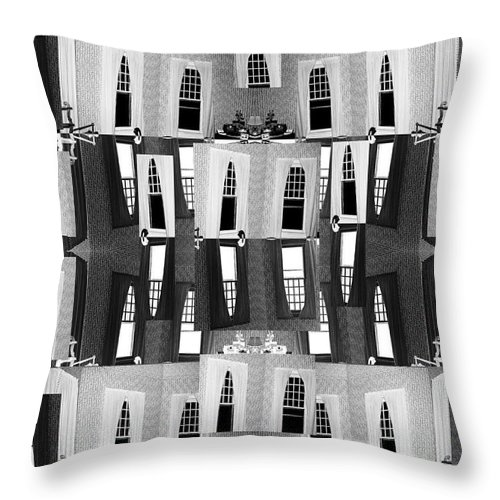 Black Throw Pillow featuring the digital art My Windows by Betsy Knapp