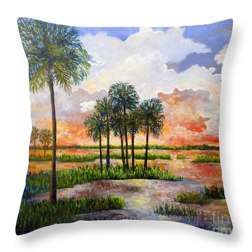 Sunset Throw Pillow featuring the painting Myakka Sunset by Lou Ann Bagnall