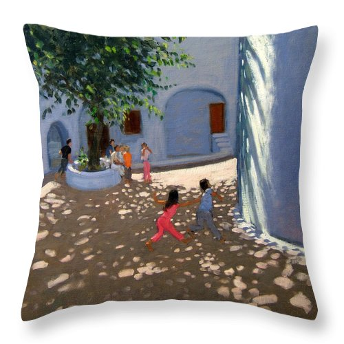 Courtyard Throw Pillow featuring the painting Mykonos Monastery by Andrew Macara