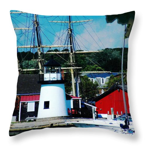 Tall Ship Throw Pillow featuring the photograph Mystic Seaport Ct by Lizi Beard-Ward