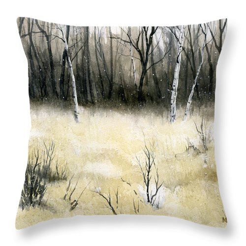 Landscape Throw Pillow featuring the painting Mystique by Mary Tuomi