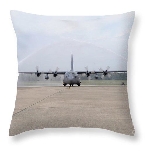 Military Throw Pillow featuring the photograph N Air Force C-130e Hercules by Stocktrek Images