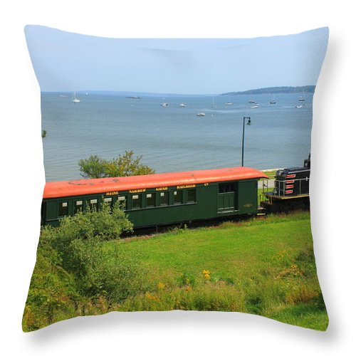 Train Throw Pillow featuring the photograph Narrow Gauge Railroad Portland Maine by John Burk