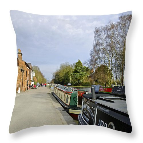 Staffordshire Throw Pillow featuring the photograph Narrowboats At Fradley Junction by Rod Johnson