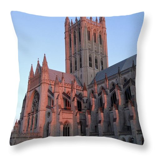 National Cathedral Throw Pillow featuring the photograph National Cathedral At Sunset by Susan Wyman
