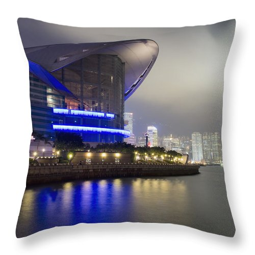 Architecture Throw Pillow featuring the photograph National Convention Center At Night by Axiom Photographic