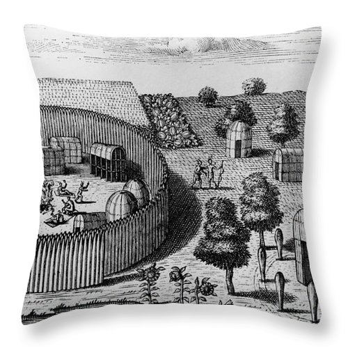 1705 Throw Pillow featuring the photograph Native American Village by Granger