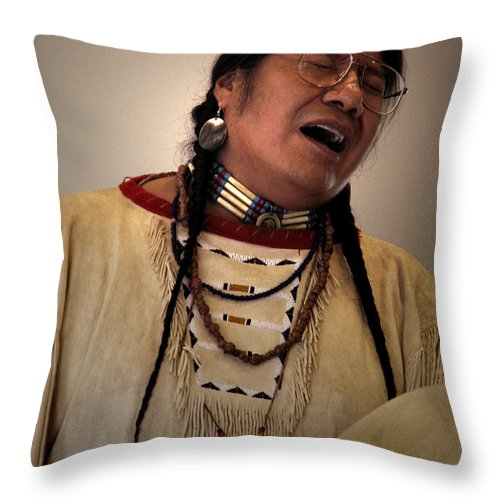 Native_american_music Throw Pillow featuring the photograph Native Cheyenne Chant by Nancy Griswold