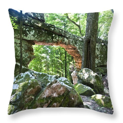 Natural Bridge Throw Pillow featuring the photograph Natural Bridge by Terry Anderson