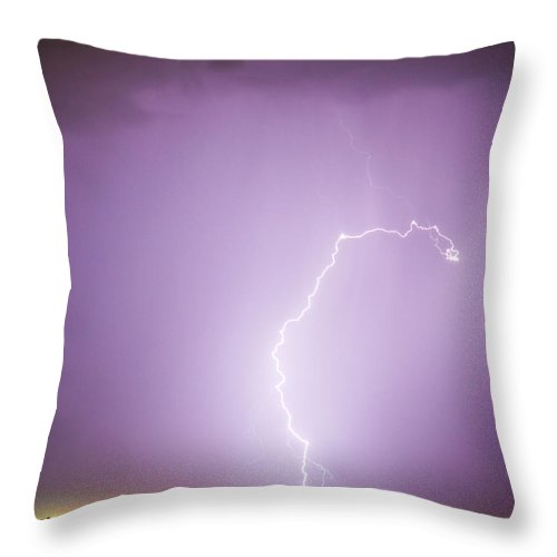 Lightning Throw Pillow featuring the photograph Nature Showing Face by James BO Insogna