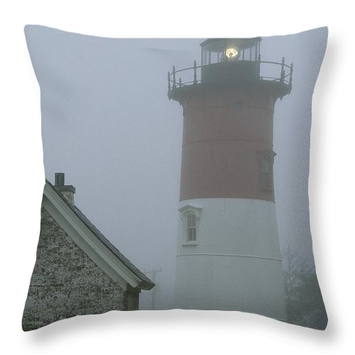 North America Throw Pillow featuring the photograph Nauset Lighthouse On A Foggy Morning by Darlyne A. Murawski