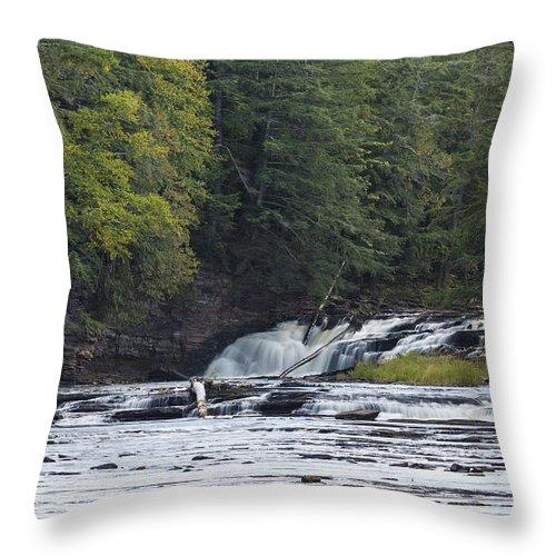 Nawadaha Throw Pillow featuring the photograph Nawadaha Falls 1 by John Brueske