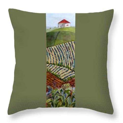 Nebraska Landscape Throw Pillow featuring the painting Nebraska by Saundra Lane Galloway
