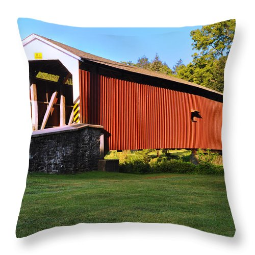 Neff's Throw Pillow featuring the photograph Neff's Mill Covered Bridge In Lancaster County Pa. by Bill Cannon