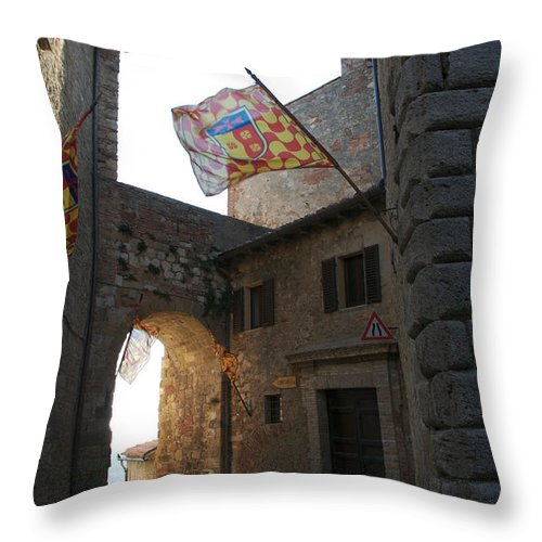 Built Structure Throw Pillow featuring the photograph Neighborhood Flags Wave In The Narrow by Heather Perry
