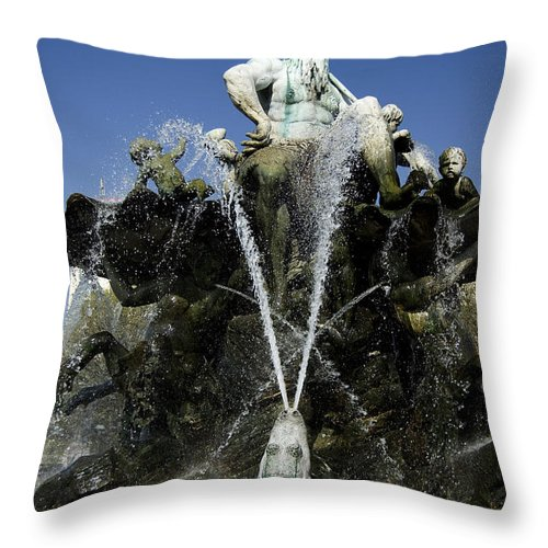 Neptune Throw Pillow featuring the photograph Neptune Fountain by RicardMN Photography