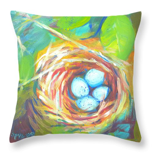 Eggs Throw Pillow featuring the painting Nest Of Prosperity 1 by Pam Van Londen