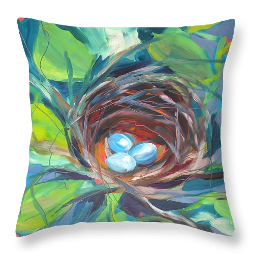 Eggs Throw Pillow featuring the painting Nest Of Prosperity 2 by Pam Van Londen